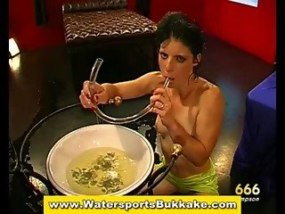 Real piss drinking slut gets bukkake and sucks cock in groupsex