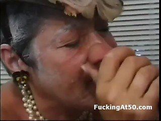 50yo classy grandma is face fucked then drilled on all fours