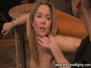 Blonde slave receives lezdom punishment
