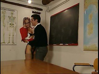 Fucking the teacher clothed in the classroom