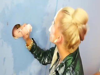 Hot glam gloryhole skank gets drenched