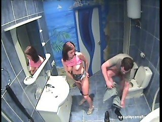 security cam in bathroom catches couple