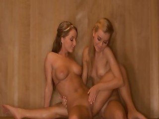 Lesbian hole licking in the hot sauna