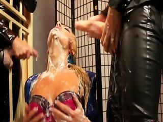 Dyke behind bars gets a cum drenching
