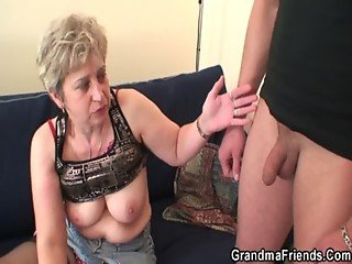 Nasty granny toying before double fuck