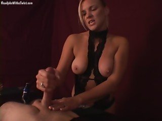 hot handjob by blonde in boots