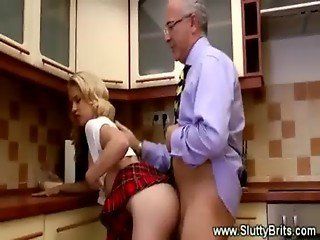 Hot blonde babe throat and pussy fucked in the kitchen