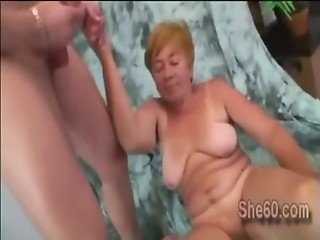 Chunky granny sucks young dick as gets her snatch drilled with a toy