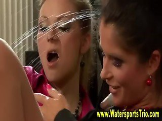 Fetish watersports lesbians piss shower action
