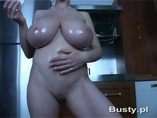 Girl with big tits playing solo with Dildo