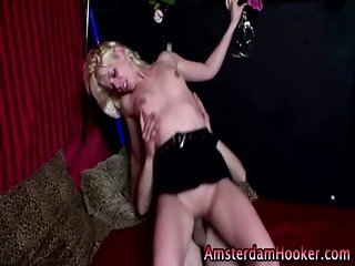 Dutch blonde whore gets a facial