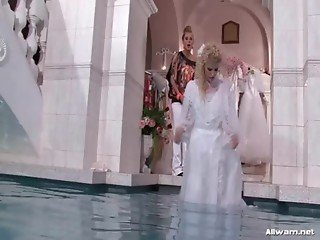 Bride gets ass spanked in pool