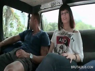 Brunette hottie gets talked into sex in bus