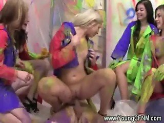 CFNM bodypainted teens reverse gangbang