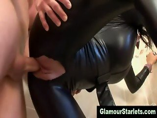 Sexy glam clothed eurotrash gets fucked with only her tits out