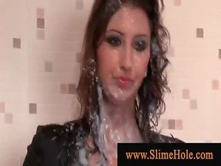 Lady cum drenched at a gloryhole