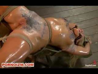 Lesbian Dungeon Slave Cameron Torments in Bondage