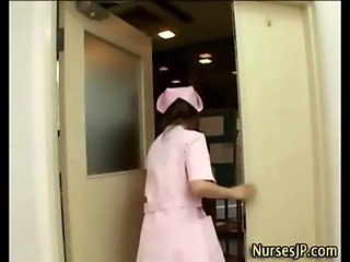 Handjob visiting asian nurse