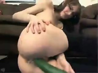 Nerdy Chick Fucks Cucumber
