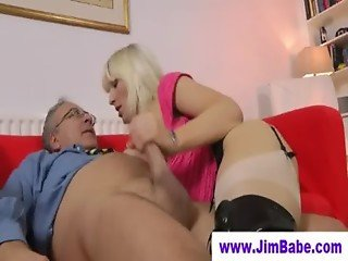 Blonde in boots fucks an old man