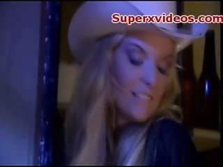 Blonde cowgirl rides cock