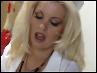 Nurse with fishnets and gloves fucks in a hospital