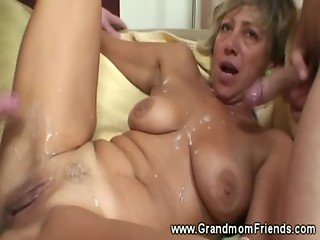 Hot grandma fucked by two men and gets cummed on