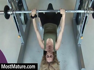 Mature babes in the gym doing exercise
