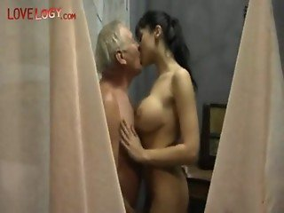 Grandpa And Old Pervert Get Lucky, brunette group sex blowjob cumshot bigtits