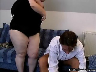 Fat old grandma gets her ass fucked