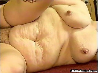 Fat old grandma gets fucked by two lucky