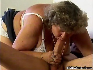 Horny grandma loves sucking some young