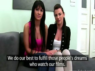 Casting audition of two skinny raven babes