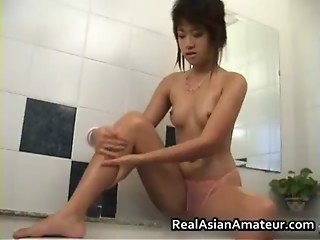 Asian girlfriend in pink see through