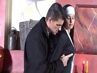 Filthy Hot Nun Deliciously Feeds Her Sinful Mouth With A Massi... - FUX
