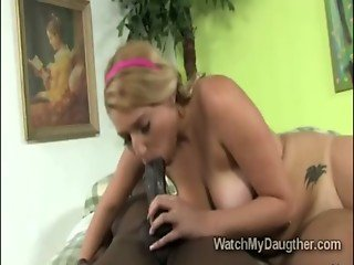 Sweet young blondie Jessi Stone devours meaty black schlong