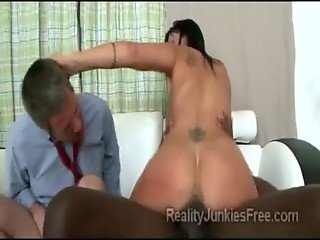Kinky MILF rides gifted black male in front of her perverted husband