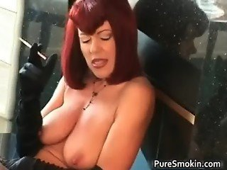 Knockers red head tramp smoking bdsm