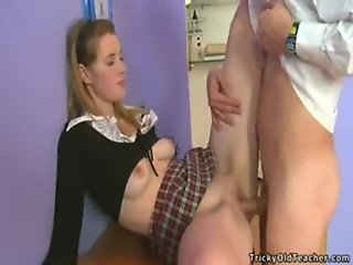 Teen Schoolgirl Donna in Uniform Upskirt Riding Old Teacher in Office