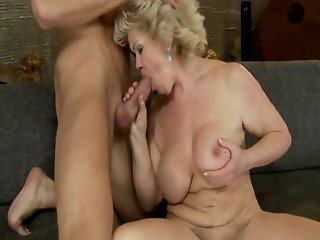 Hairy busty GILF drooling on cock before bang and moaning