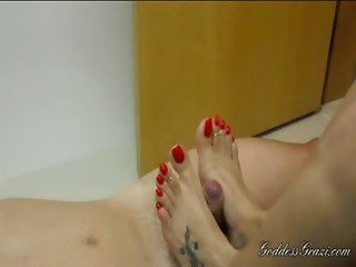 Grazi red nails footjob