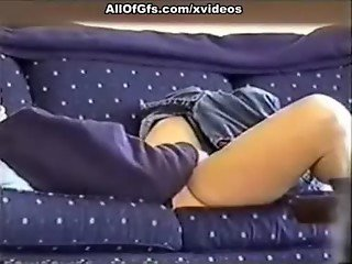 Nasty amateur masturbation on the sofa