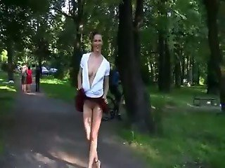 Imbecile young teen Bella teasing open-air
