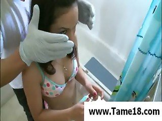 Teen slave gets gagged in bath