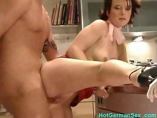 Girl gets horny with vegetables and fucks boyfriend in kitchen