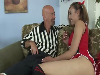 Ladyboy shemale sucks off her studs hard dick on their couch