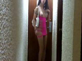 Nikki Ladyboy Pink dress wanking