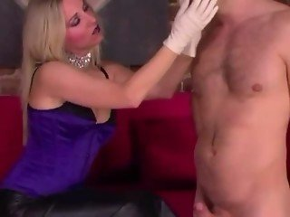 FEMDOM english MILF massaging subs cock with different gloves