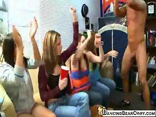 College Sorority Girls Party with a Dancing Bear