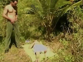 Amateur guy sex in the forest jungle